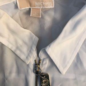 Two dressy zip up white shirts